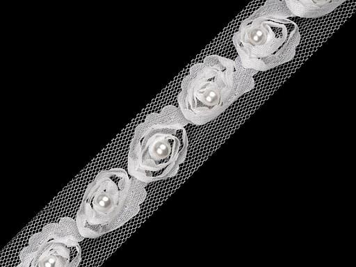 Prámik / vsádka na tyle šírka 20 mm s perlou