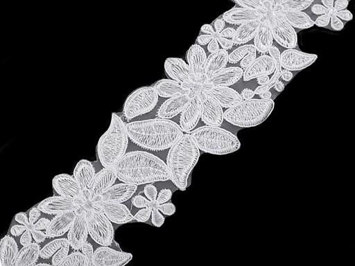 Vyšívaný prýmek / krajka na monofilu šíře 70 mm