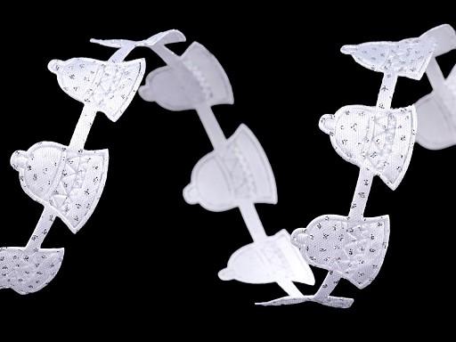Vánoční saténový prýmek šíře 20 mm zvonečky s glitry
