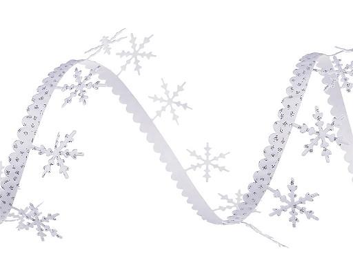 Aplikacja satynowa w taśmie szerokość 25 mm płatki śniegu z brokatem