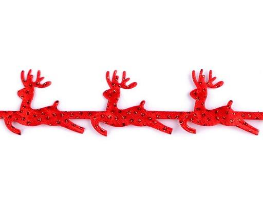 Vánoční saténový prýmek šíře 25 mm sobi s glitry