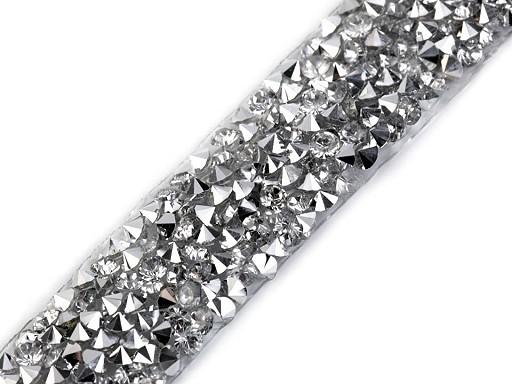 Prýmek s kamínky šíře 15 mm nažehlovací