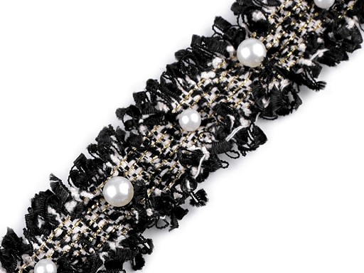 Taśma ozdobna z perełkami i lureksem szerokość 30 mm