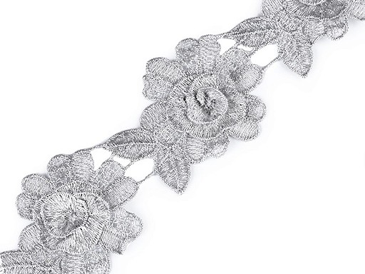 Vyšívaný prámik / čipka 3D kvet s lurexom šírka 60 mm