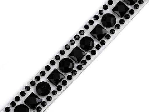 Prýmek se skleněnými broušenými kamínky šíře 12 mm nažehlovací