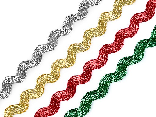 Taśma zygzak / taśma dekoracyjna z lureksem szerokość 5 mm
