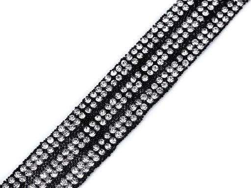 Prýmek se skleněnými broušenými kamínky šíře 18 mm nažehlovací