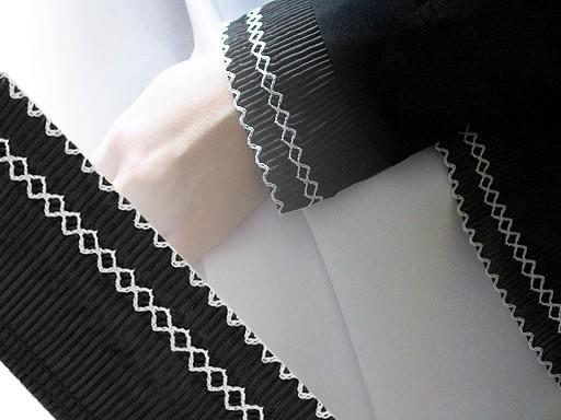 Prámik plisovaný vyšívaný šírka 65 mm