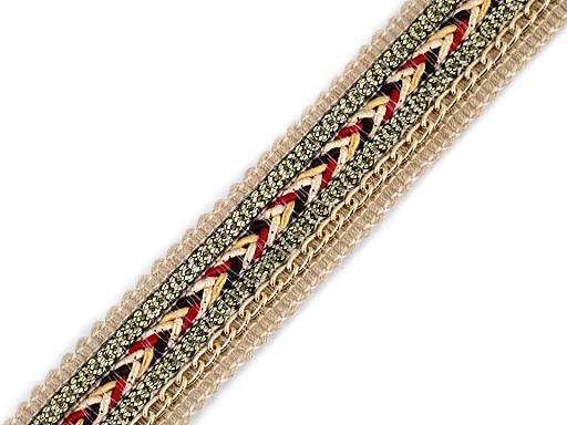 Víceřadý prýmek s flitry a řetízkem šíře 25 mm