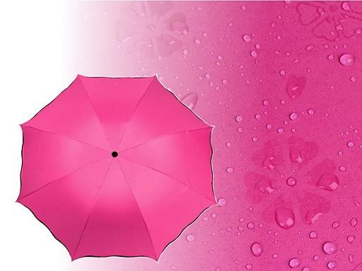 Parasolka damska składana z wzorem pojawiającym się pod wpływem wody