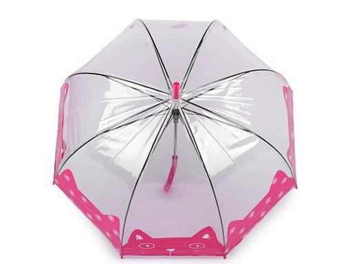 Dievčenský priehľadný dáždnik mačka