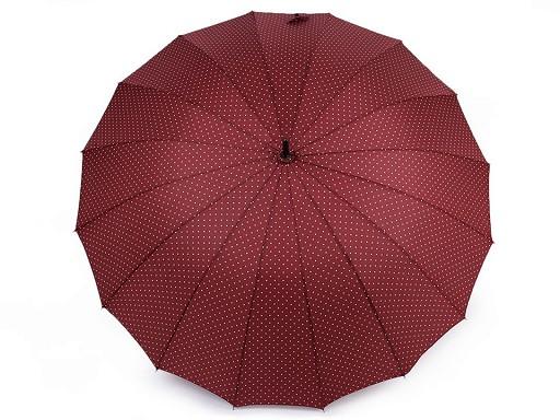 Dámský vystřelovací deštník s puntíky