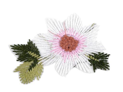 Vyšívaná aplikace květ na monofilu