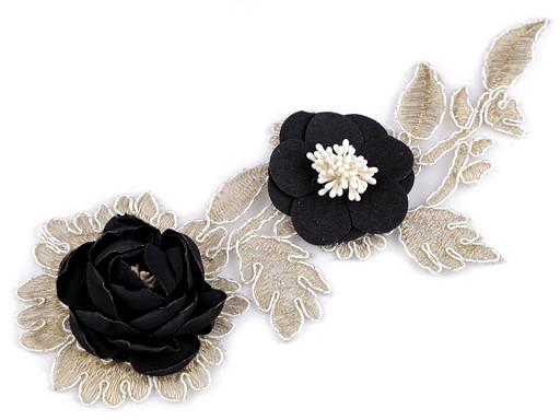 Aplikacja / wstawka dekoltowa na monofilu 3D z kwiatami
