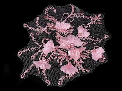 Aplikace / vsadka na monofilu s 3D květy a perlami 17x20 cm