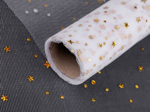Vánoční tyl s hvězdičkami hologram šíře 48 cm