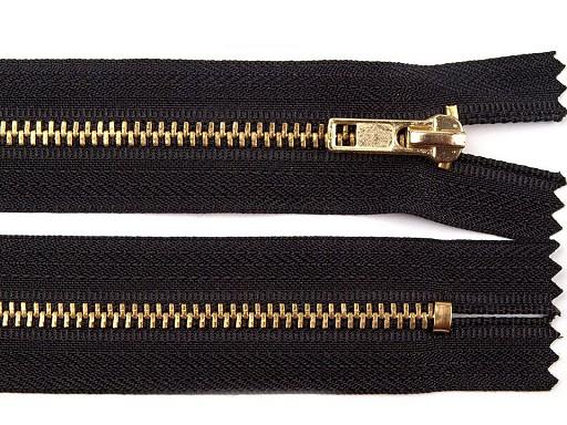 Kovový / mosazný zip šíře 4 mm délka 16 cm kalhotový