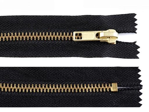 Kovový / mosazný zip šíře 6 mm délka 12 cm