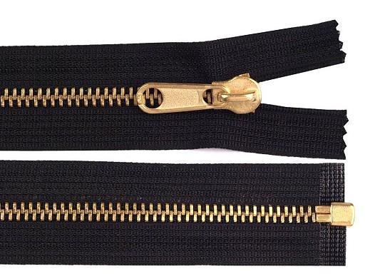 Kovový / mosazný zip šíře 6 mm délka 150 cm, 160 cm oboustranný jezdec
