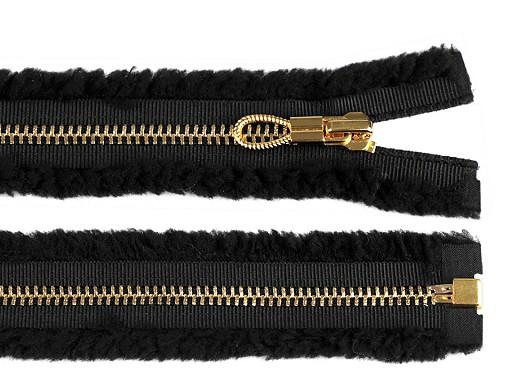 Kovový / mosazný zip šíře 6 mm délka 70 cm s roztřepeným efektem