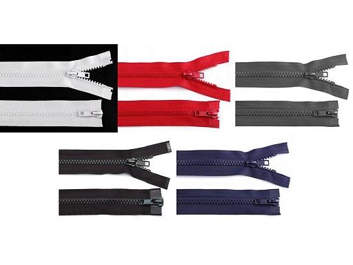 Zip kostěný 5 mm dělitelný 2 jezdce 65 cm bundový