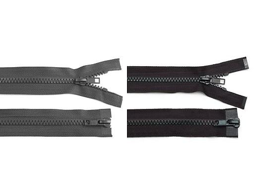 Plastic Jacket Zipper 5 mm open-end, 2 sliders length 70 cm