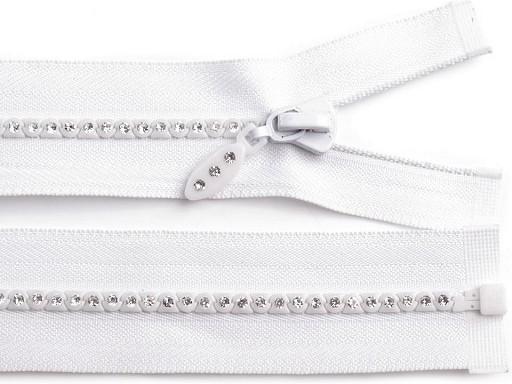 Kostěný zip šíře 4 mm délka 50 cm se štrasovými kamínky