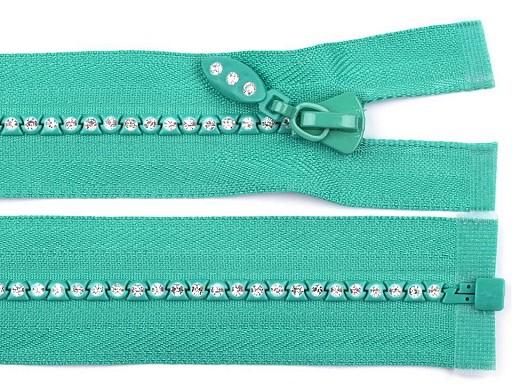 Kostěný zip šíře 4 mm délka 65 cm se štrasovými kamínky