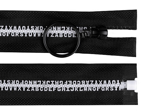 GT10 bontható öntött műanyag cipzár szélesség  5 mm  hossz 50 cm betűk