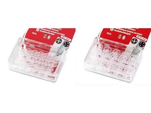 Plastové patentky Ø7 mm - Ø15 mm na blistru