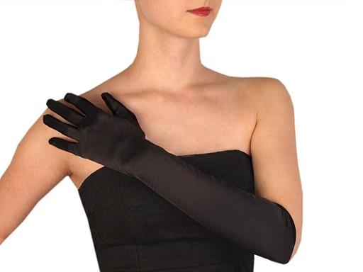 Długie rękawiczki wizytowe satynowe