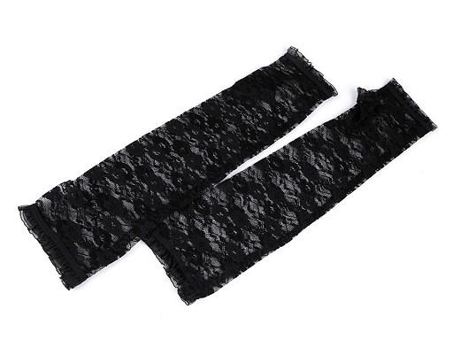 Dlouhé společenské rukavice krajkové bez prstů