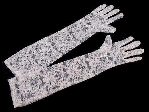 Długie rękawiczki wizytowe koronkowe