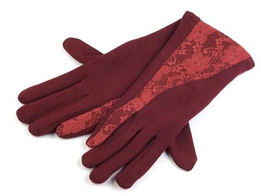Dámské úpletové rukavice s krajkou