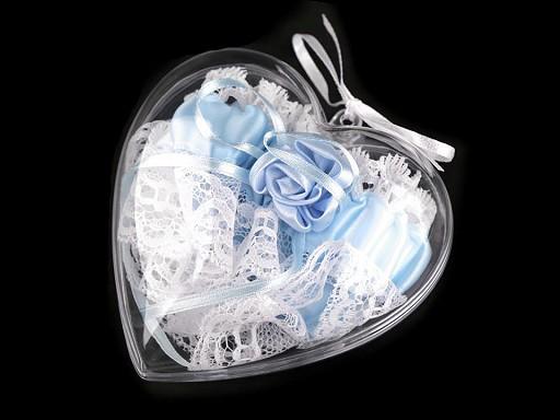 Ślubna podwiązka w ozdobnym pudełeczku serce