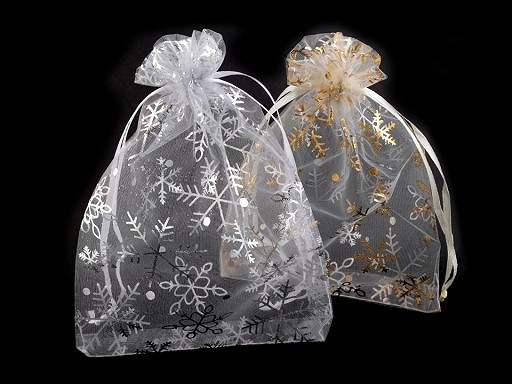 Vánoční dárkový pytlík 13x18 cm organza s vločkami