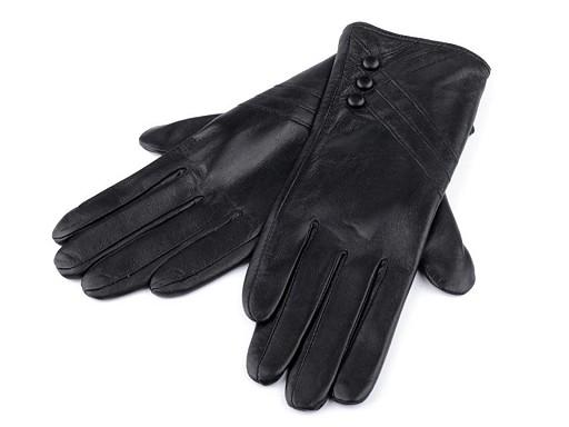 Dámské kožené rukavice s knoflíky