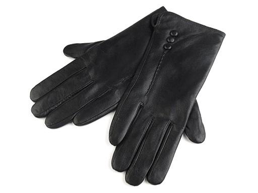 Dámske kožené rukavice s gombíkmi