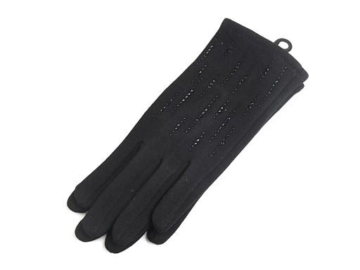 Dámské úpletové rukavice s kamínky