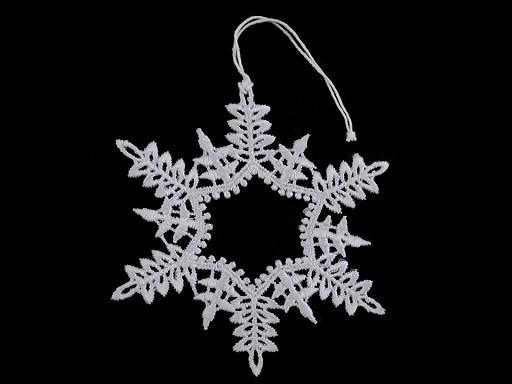 Vánoční krajková dekorace hvězda, vločka