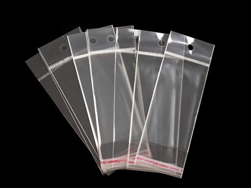 Celofánové sáčky s lepicí lištou a závěsem 5x10 cm