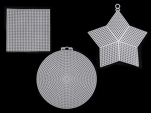 Plastová kanava / mřížka vyšívací kruh, hvězda, čtverec