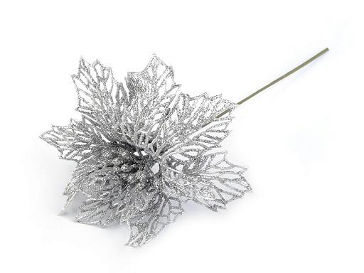 Vánoční hvězda Ø13 cm s glitry
