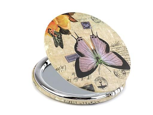 Kozmetické zrkadielko motýľ
