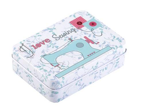 Plechová krabička na šitie