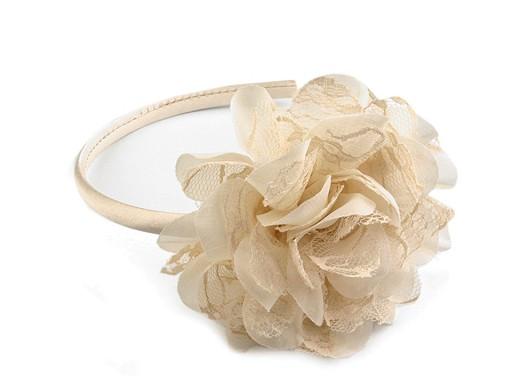 Saténová čelenka do vlasů s květem z krajky