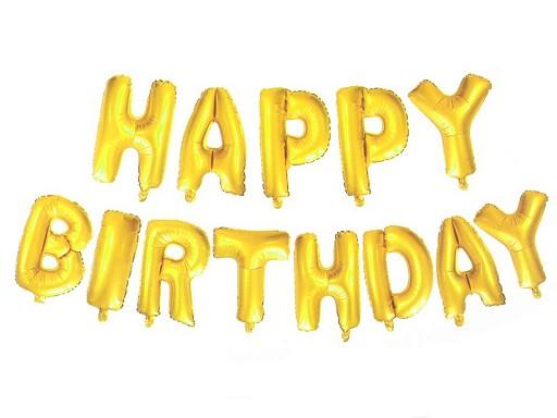 Balon foliowy duży napis HAPPY BIRTHDAY