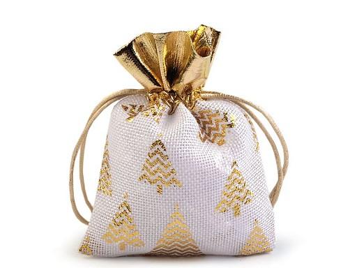 Vánoční dárkový pytlík stromeček 10x13 cm imitace juty