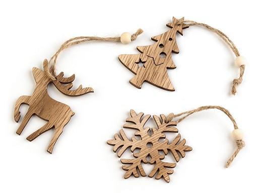 Vianočná drevená vločka, stromček, jeleň