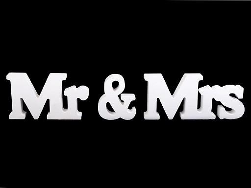 Dřevěná dekorace Mr a Mrs